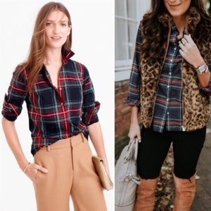 J. CREW Stewart Plaid Holiday Perfect Shirt Top XS